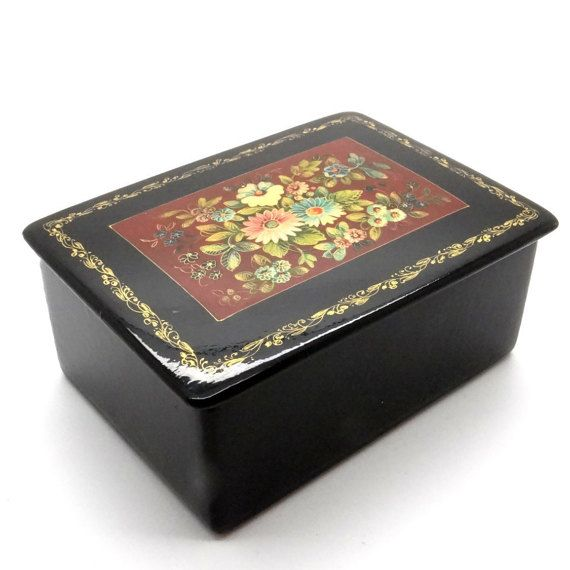"Genuine Vintage Russian Box - Handpainted Mstera Russian Lacquer Miniature Box - Collectible Jewelry Box ""Flowers"" at VintageArtAndCraft"