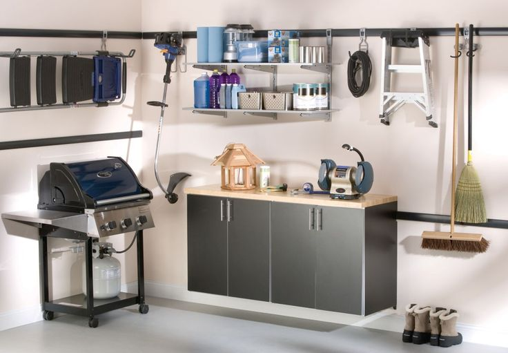 Furniture, Wall Mounted Black Metal Garage Storage Cabinet With Stainless Steel Handle And Mounted Accessories Shelf Plus Hooks Ideas For Small Garage Spaces ~ Garage Storage Cabinets