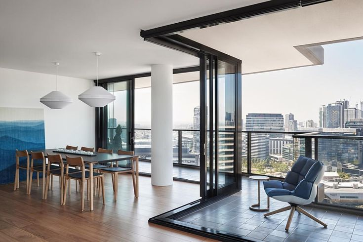 Mayu 02 pendant lights in the Yarra's Edge Apartment by Ha Architects / Image: Dan Hocking