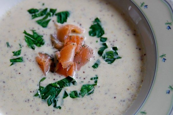 Champagner-Senf-Suppe mit Graved Lachs