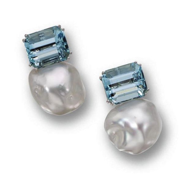 Donna Vock - Pair of baroque cultured pearl and aquamarine earclips. Composed of 2 baroque keshi pearls measuring 17.5 by 16.5 mm. and 19.1 by 16.5 mm., surmounted by emerald-cut aquamarines weighing approximately 15.50 carats, mounted in 18 karat white gold, signed DVock.