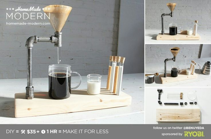 """This is the second episode of our """"CoffeeScapes"""" series that features different ways to make the things that make our coffee. This pour over coffee maker is made from a short piece of 2x6, some 3/8"""" diameter iron pipe and a glass funnel."""