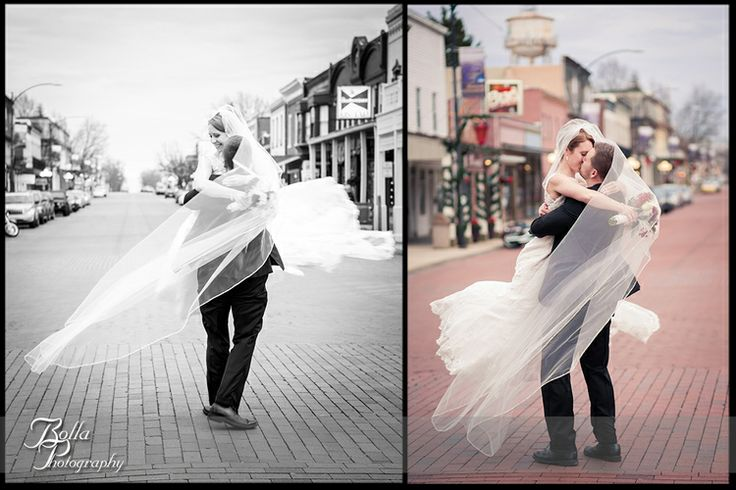 Photo Credit: Bolla Photography 2013 www.BollaPhoto.com Bolla-Photography-Saint-Louis-wedding-photographer-McKendree-Bothwell-Chapel-Lebanon-IL-ceremony-Regency-OFallon-IL-reception-bride-groom-portrait-street-brick-road-spin-twirl-veil