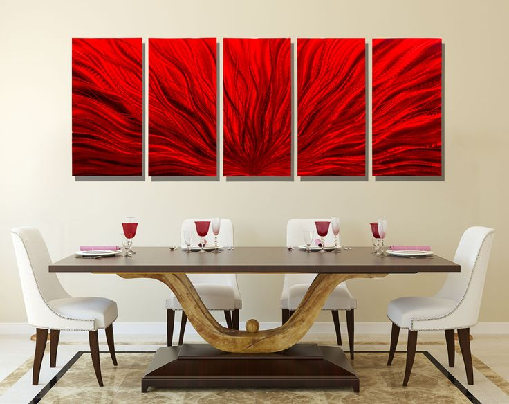 Red Plumage Modern Abstract Metal Wall Art Office Spaces Architecture Interior Design