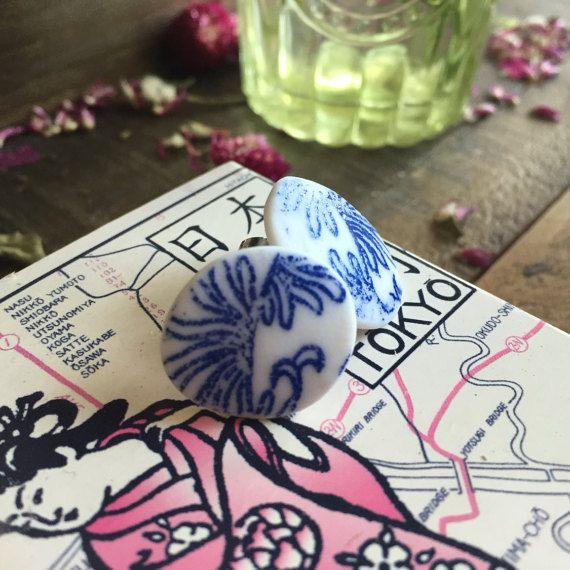 Earrings porcelain blue & white by MelanieSherman on Etsy