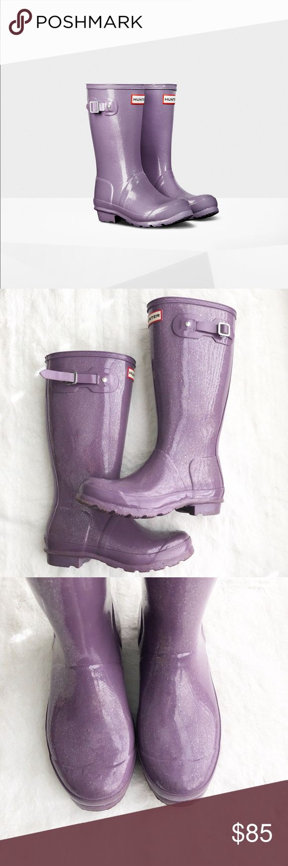 🌸SALE🌸Hunter Purple Glitter Boots Step into spring with these fun light purple glitter rain boots. These are meant to be kids but are an EU35/36. I wear a 6 and these fit perfect. Perfect if you're petite like me. In fantastic shape. Minimal wear on the soles, small scuffs on the heels. Feel free to make an offer 💕 Hunter Boots Shoes Winter & Rain Boots