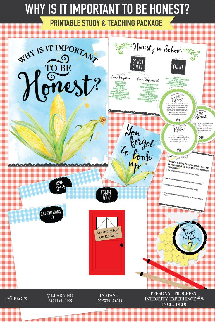 Why is it important to be honest?  September Young Women lesson (or FHE).  This printable package includes GREAT ways to teach about the positive consequences of honesty and the negative consequences of dishonesty.  Lots of great scripture and For the Strength of Youth activities.  Personal Progress Integrity experience #2 printable too!