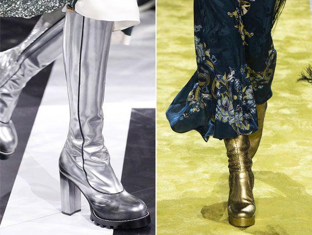 Модные сапоги металлик 2017