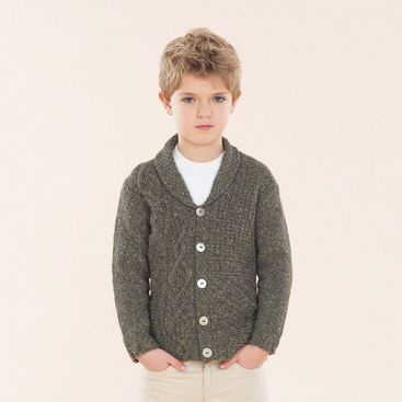 On the Trail Cardie for boys - hand knitted in Sublime Luxurious Aran Tweed