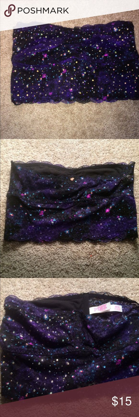 """Victoria's Secret Bralette Victoria's Secret PINK long line lace bandeau in the color """"Bling Galaxy"""" size medium. only worn one time, like new condition! Victoria's Secret Intimates & Sleepwear Bandeaus"""