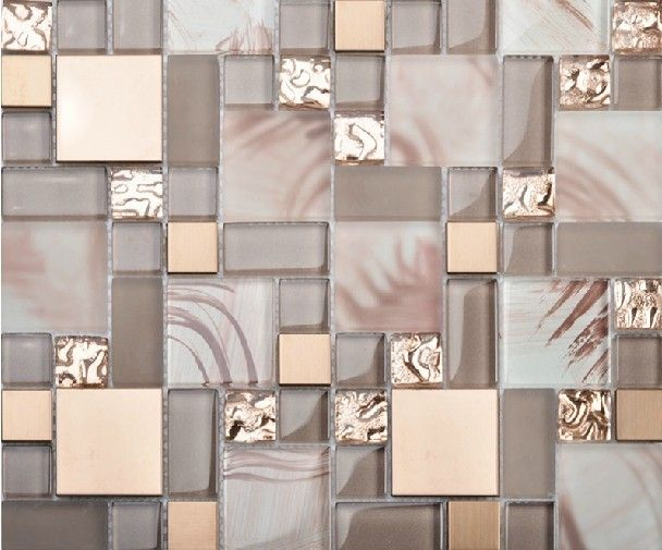 Glass blend metal mosaic kitchen backsplash tile SSMT113 gold stainless steel mosaic bathroom tile glass mosaic tiles