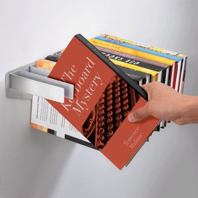 Flybrary bookshelf is designed by Satina Turner, its a powder coated bookshelf which can be put on a wall and you can put the books to create the surface of the shelf.
