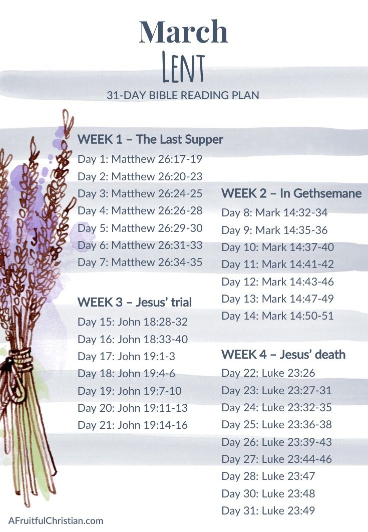 A free bible study reading plan for the month of march