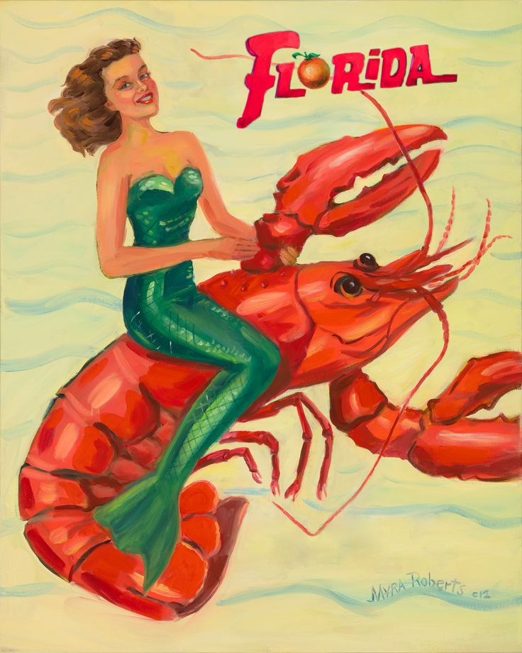 Florida Lobster Mermaid  original oil painting.  myraroberts.com