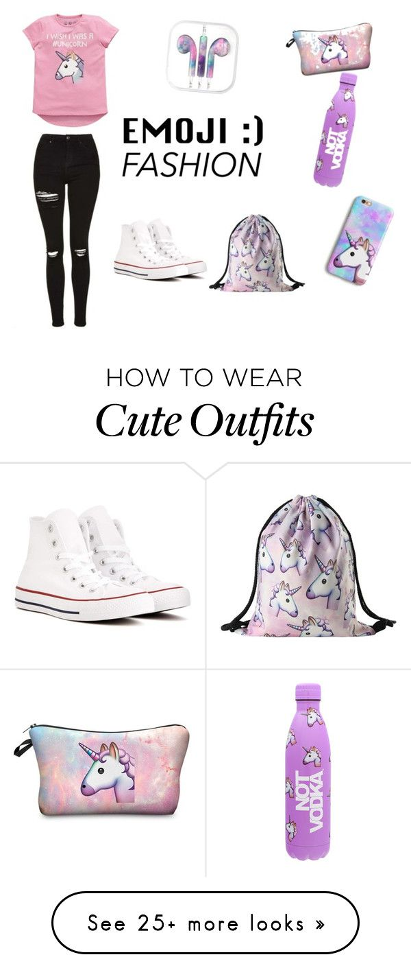 """Unicorn Crazy"" by xsugarskull on Polyvore featuring Emoji and Converse"