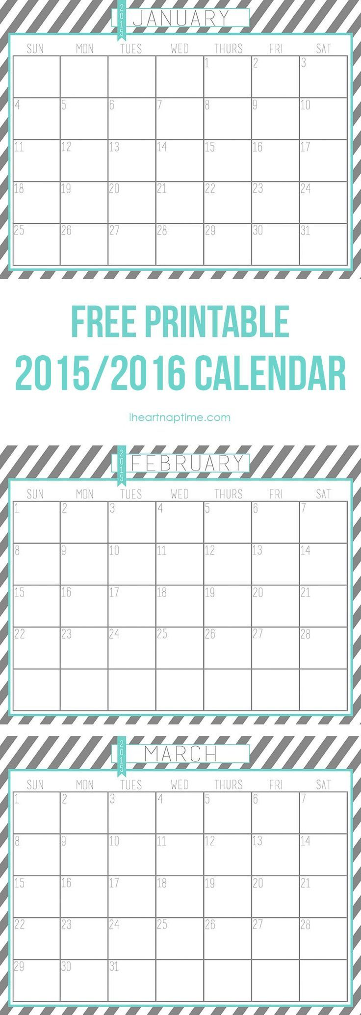 2015 - 2016 free printable calendar on iheartnaptime.com: