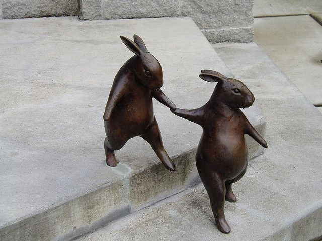 Time to go now... bronze rabbits by Georgia Gerber