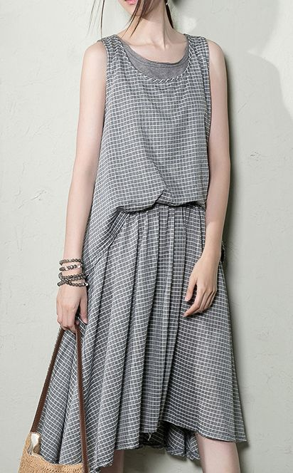 Casual dress. Gray grid layered cotton sundress summer maxi dresses long cotton clothing plus size