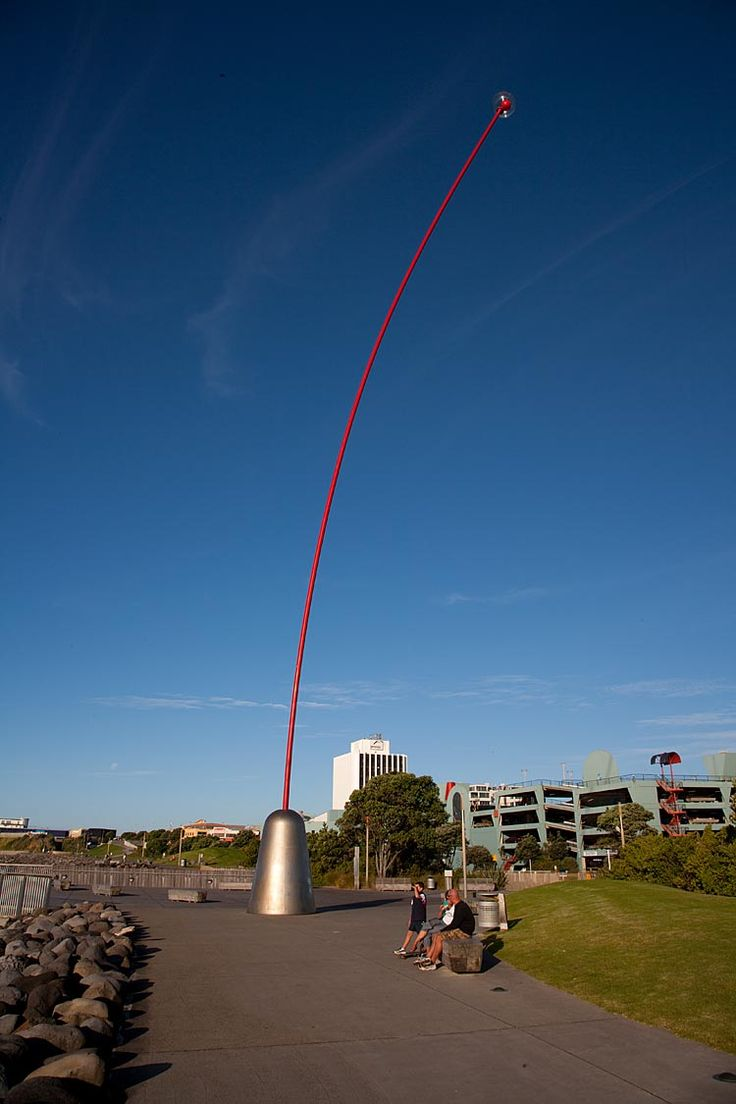 New Plymouth, Len Lye's Wind Wand,  see more at New Zealand Journeys app for iPad www.gopix.co.nz