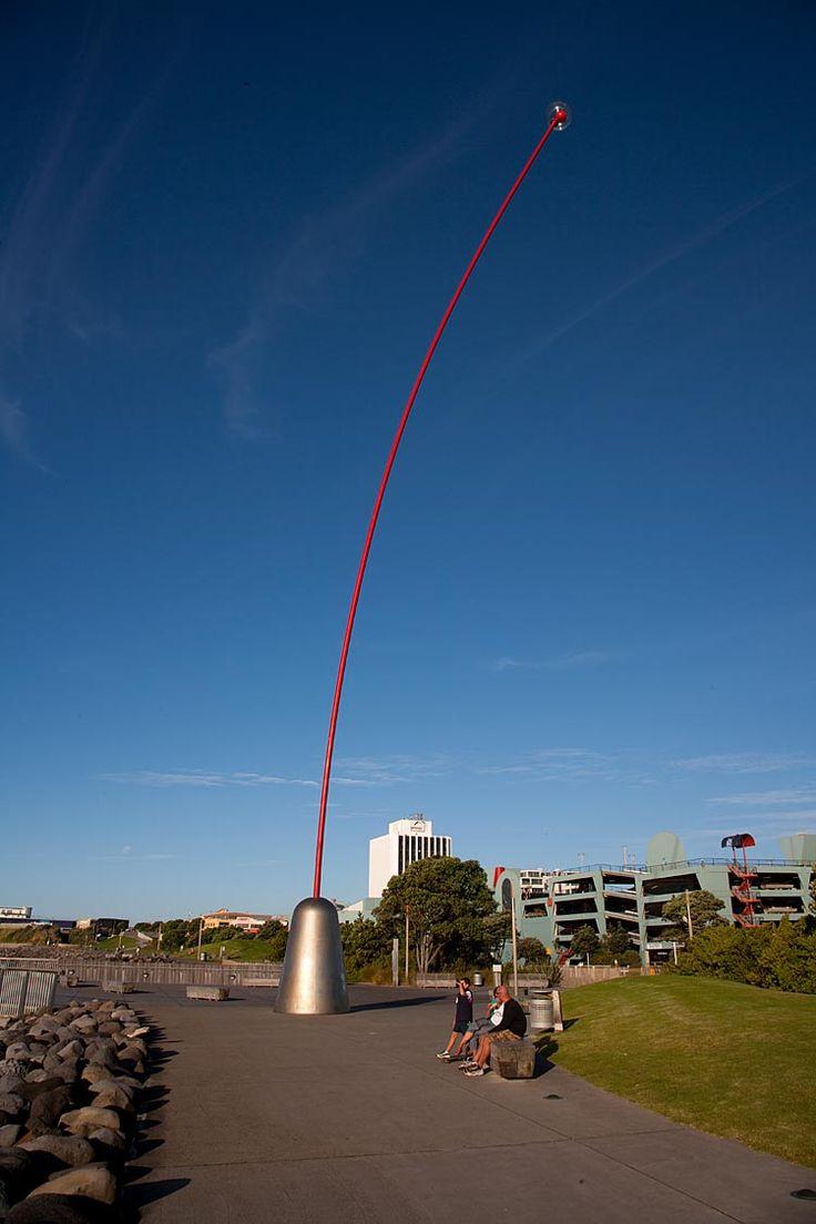 New Plymouth, Len Lye's Wind Wand, New Zealand.