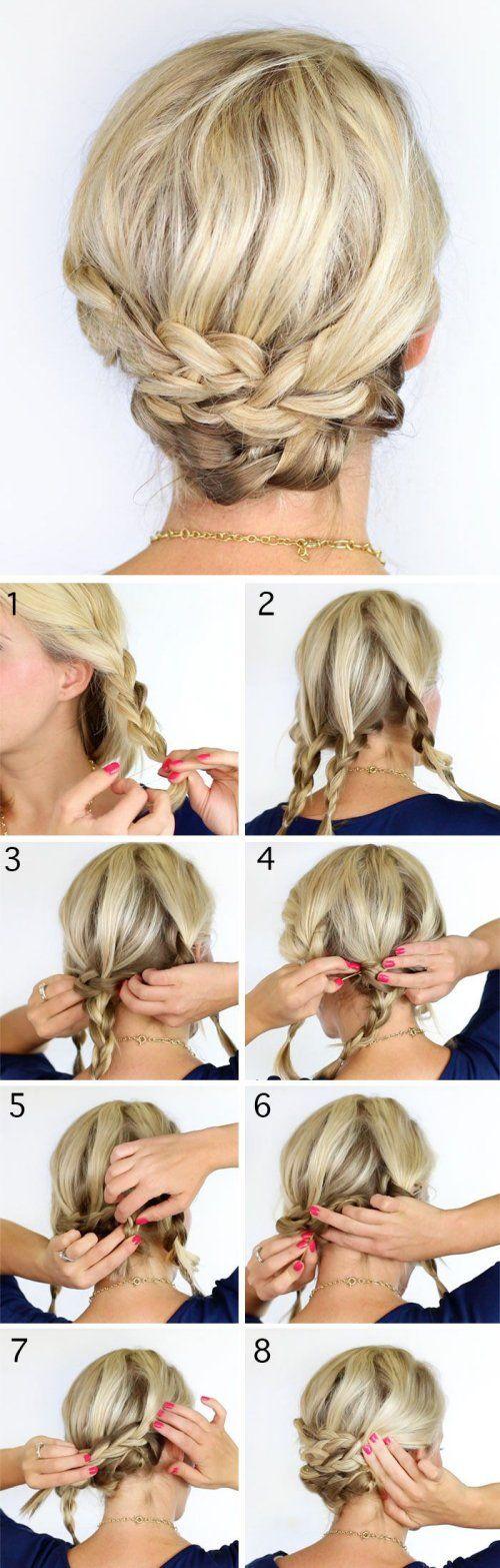 Peinado recogido facil para pelo medio con trenzas en 8 pasos muy sencillos