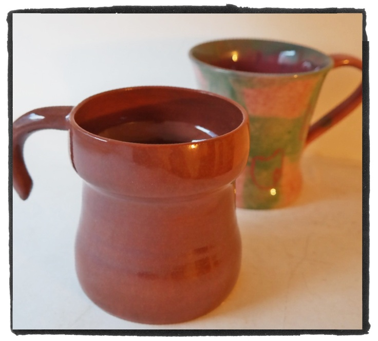 earthenware cup, red clay and red glaze for a rusty effect
