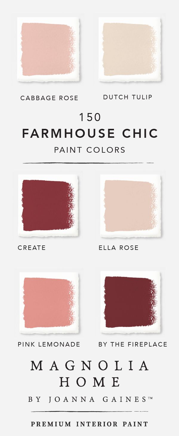 Explore the rich red and pink shades in designer Joanna Gaines' Magnolia Home interior paint collection. Dark shades like Create and By the Fireplace mixed with lighter hues like Ella Rose and Dutch Tulip. Check out the rest of the collection and create the perfect color palette for all your DIY design needs.