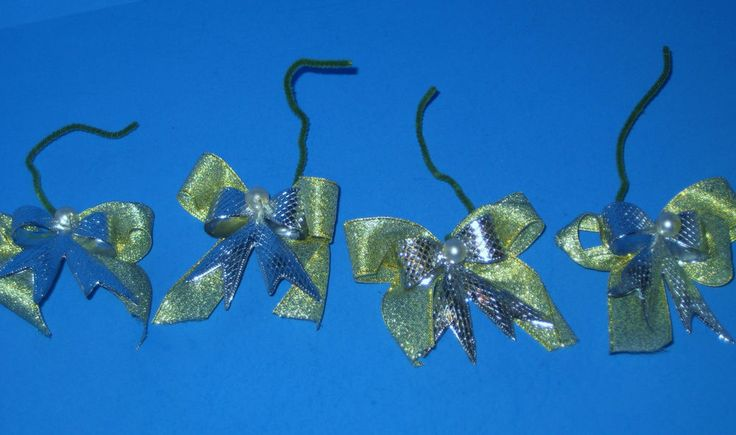 Vintage Christmas Bows 4 Shiny Silver and Gold Package Toppers or Ornaments