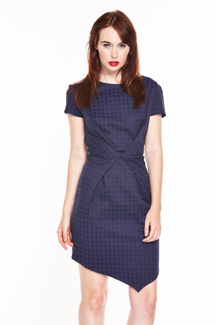 Navy Envelope Dress by Liquorish - Ladies European Dresses Online.