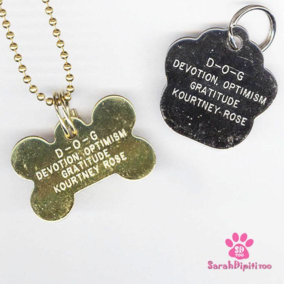 Personalized Dog Tag Necklace  Engraved Pet Tag by SarahDipitiToo