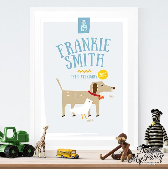Personalised Dog & Duck Wall Art