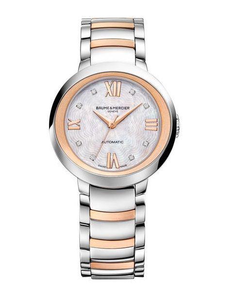 Baume & Mercier 10239 Promesse Automatic - швейцарские женские наручные часы  - стальные, золотые с бриллиантами, белые