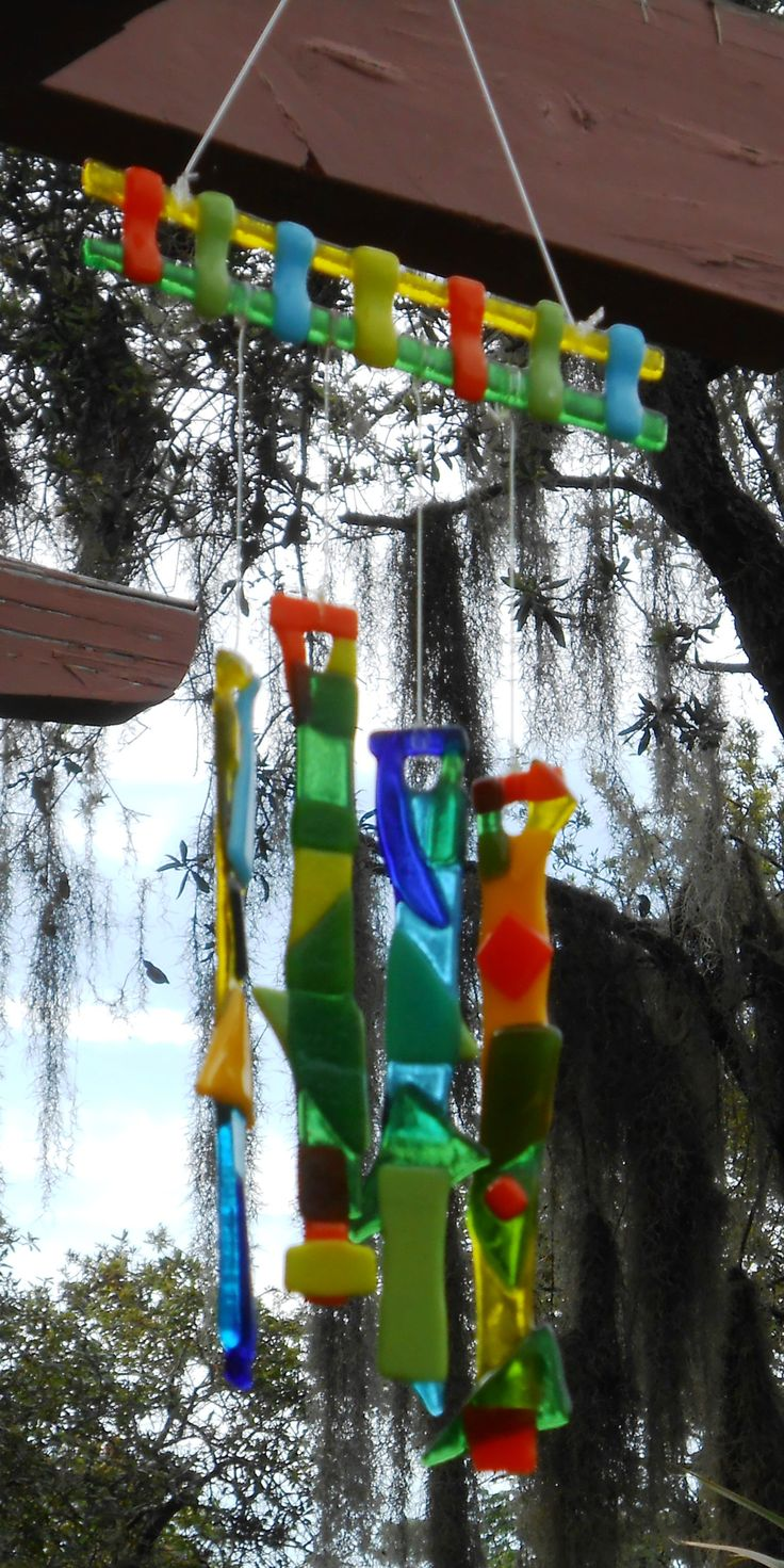 Fused glass yard art - Fused Glass Wind Chime