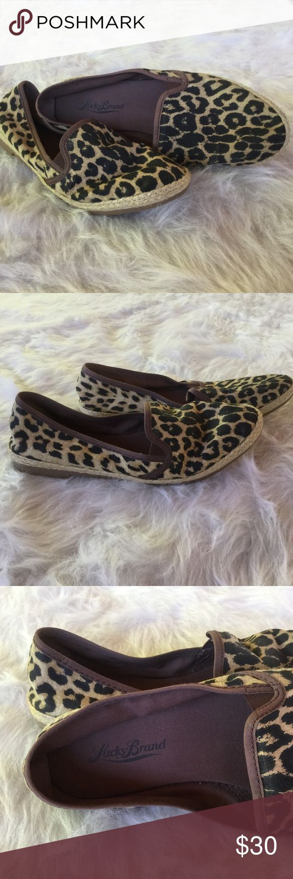 Lucky Brand Leopard Print Espadrille Flats These are a pair of summer ready flat dark brown and tan animal print shoes from Lucky Brand. Size 6.5, worn perhaps once. Fabric upper. (997) Lucky Brand Shoes Flats & Loafers