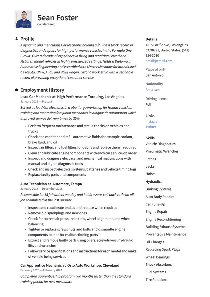 Car mechanic resume sample in 2020 resume guide car