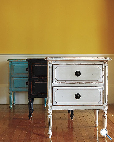 i have a badly-painted dresser i'm going to distress like this to make it look like i did it on purpose :): Side Table, Sweet Houses, Decor Ideas, Booths Ideas, Furnituresideendcoff Tables, Master Bedrooms, End Tables, Furniture Side End Coff Tables, Furniture Row