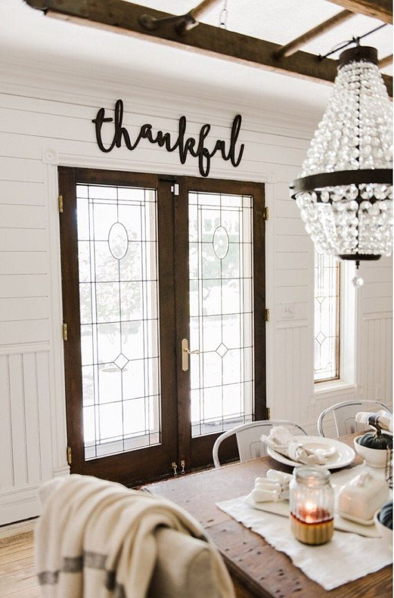This word thankful is perfect for your mantel, kitchen, living room, or on your porch or patio. Stained or painted for a wonderful finished look. Made from wood. Please leave color choice in notes at checkout. If you do not note a color choice, I will automatically stain it black. DIMENSIONS Large Length: 44 inches Height: 18 inches Thickness: .5 inches  Medium Length: 35 inches Height: 15 inches Thickness: .5 inches   MATERIAL:  The majority of wood home decor products on Etsy are made…