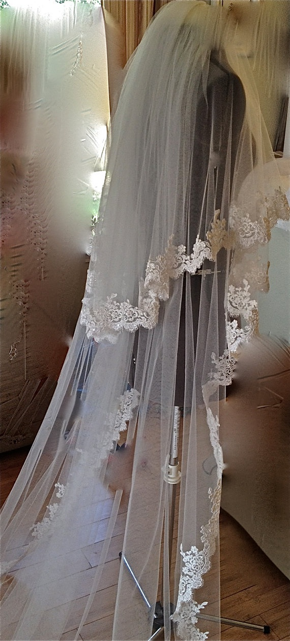 Lace Veil two tiers cathedral length