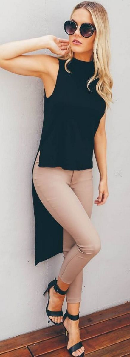 Beige skinny pants, black tunic