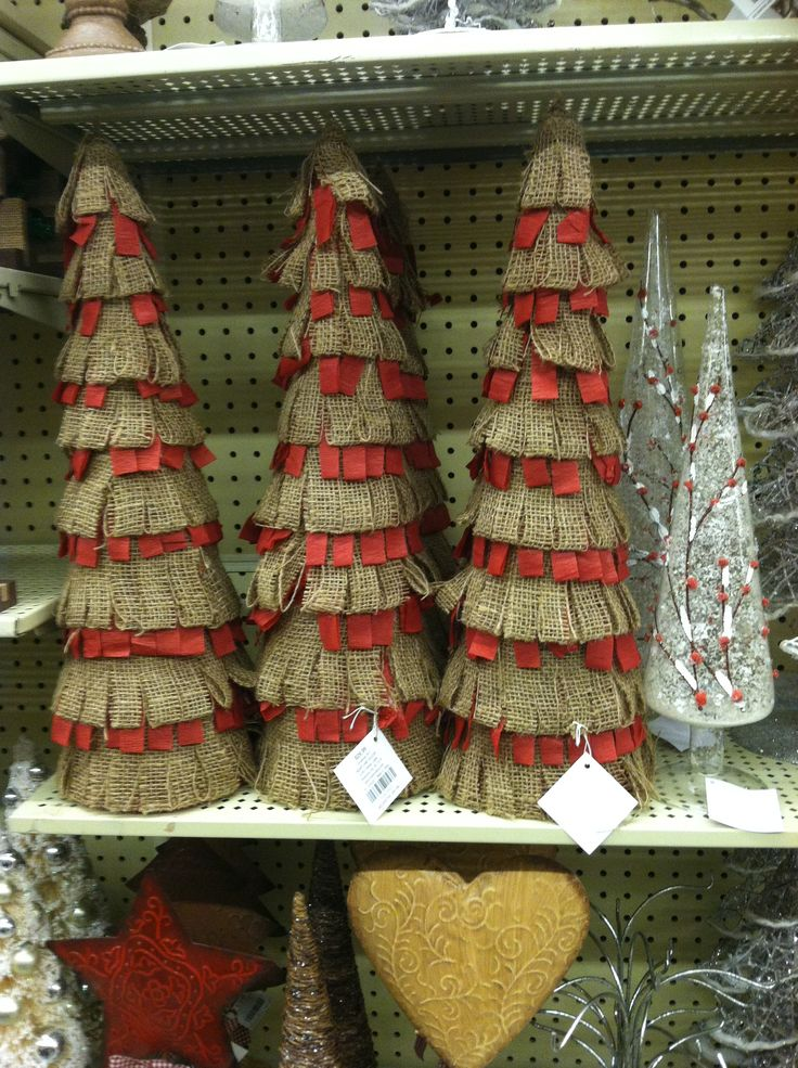 Hobby lobby burlap trees celebrate christmas for Christmas decorations sale online
