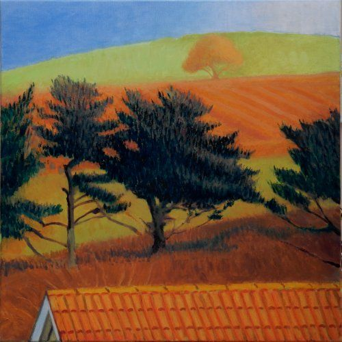 Hilltop through pine trees painting by Tom Henderson Smith approx 60 x 60 cm. Open acrylic on stretched canvas