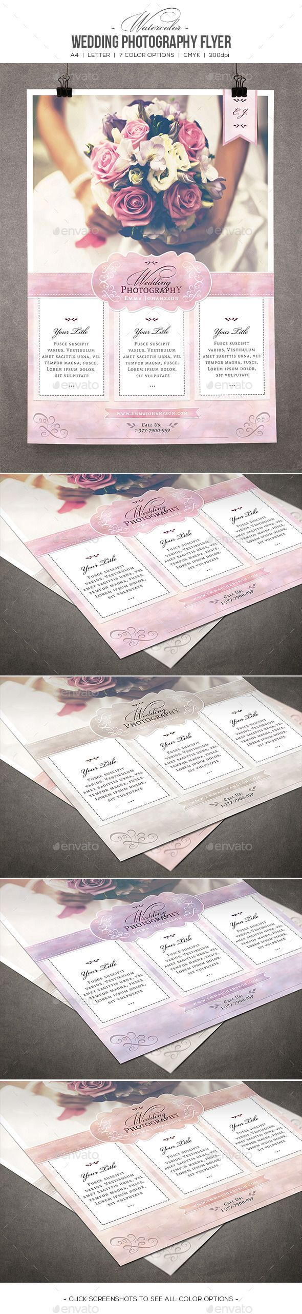 Watercolor Wedding Photography Flyer #psd #photoshop #8.5x11