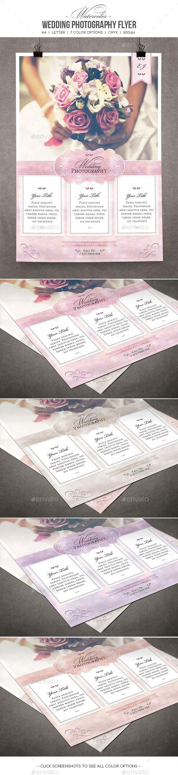 Watercolor Wedding Photography Flyer #psd #photoshop #8.5x11