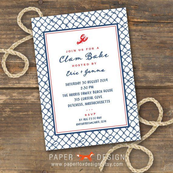 Clam Or Lobster Bake Invitation Printable In 2019