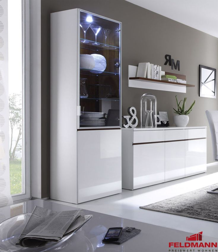 Modern living room display cabinet showcase high gloss white ...
