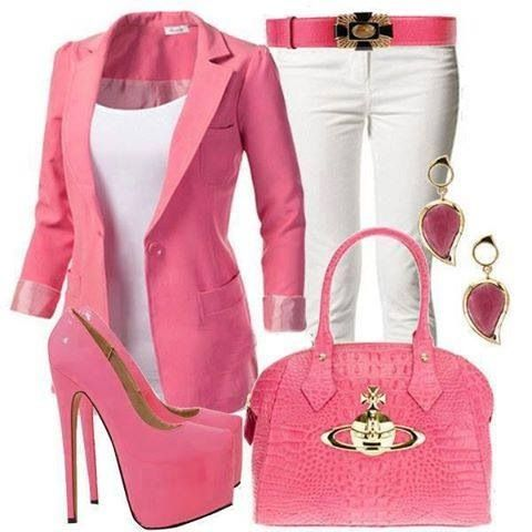 Not so sure about the white pants and heels but live the blazer, purse and shell.