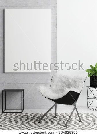 poster on concrete wall, hipster living room background, 3d illustration