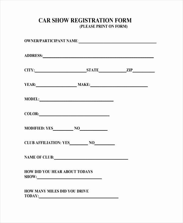 Printable Registration Form Template Awesome Sample Car Show Registration Forms 7 Free Doc Registration Form Product Catalog Template Printable Banner Template