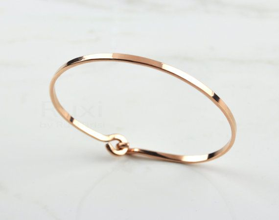 14K Rose Gold Filled Bangle Rose Gold Bracelet Cuff by RuxiTirisi, $45.00