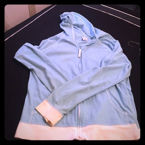 Baby blue and white zip up hoodie Light weight blue and white zip up hoodie Old Navy Sweaters